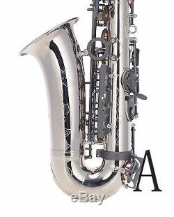 100% New Professional Eb Silver Nickel Matt Black Key High F# Alto Saxophone