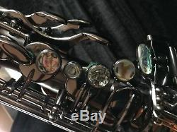 Alto saxophone brand Accent, new, black nickel, embossed, abalone keys w case