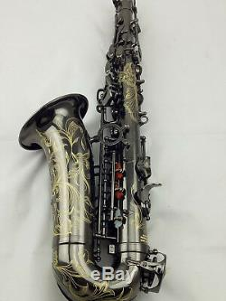 Eastern Music Professional shiny black nickel plated Alto Saxophone withengravings