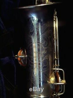 Fabulous 1927-1928 C G Conn Chu Silver Band Ready Alto Sax Saxophone