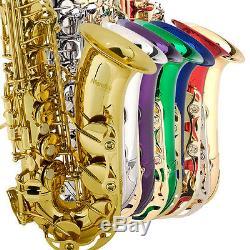 Mendini Eb Alto Saxophone Sax Gold Silver Blue Green Purple Red+Tuner+Case+Book