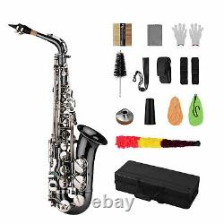 New Professional Bend Eb E-flat Alto Saxophone Sax Black withCarrying Case T4S8