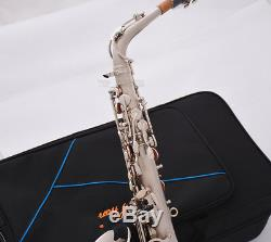 New Professional TaiShan Eb Alto Saxophone Satin nickel sax High F# With Case