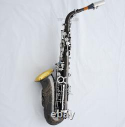 Pro Black Nickel Silver Alto Saxophone Abalone Button Eb Sax Gold bell With Case