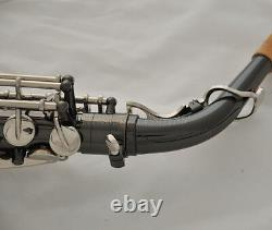 Prof. Alto Sax Black Silver Nickel Gold Bell Abalone Saxophone high F# +Case