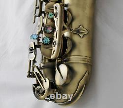 Professional Antique Alto Saxophone Rolled Note Hole Eb Sax High F# With Case