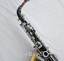 Professional Black Nickel Silver Alto Saxophone Gold Bell Sax ABALONE keys +Case