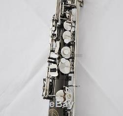 Professional Black Silver Eb Straight Alto Saxophone High F# Saxello Sax withCase
