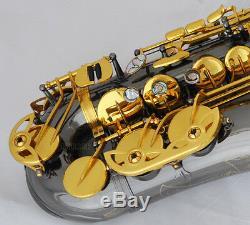 Professional Black nickel Gold Alto Saxophone Sax High F# Abalone Key New Case