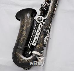 Professional Black nickel Silver Alto Saxophone Rolled Note Hole Sax High F# New