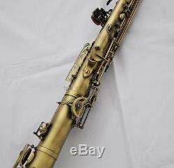 Professional Eb Straight Alto Saxophone Antique Brass Saxello Sax Leather Case