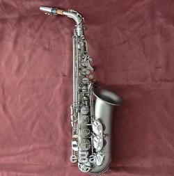 Professional Matte nickel Alto Saxofon Saxophone High F# Sax Brand new With Case