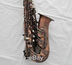 Professional Red Antique Alto Saxophone Rolled Note Hole Sax High F# New Case