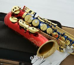Professional Red Blue Gold Alto Eb Saxophone Engraving Bell High F# Sax Newest