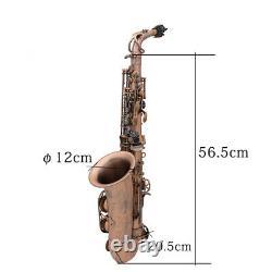 Professional Red Bronze Bend Eb E-flat Alto Saxophone Sax Abalone Shell Key F6Z7