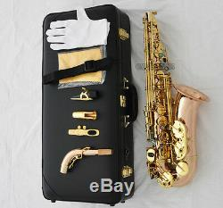 Professional Rose Brass Alto Saxophone High F# Sax Abalone Key +METAL MOUTH CASE