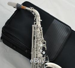 Professional Silver nickel Alto Saxophone Eb Sax Black shell key High F# New