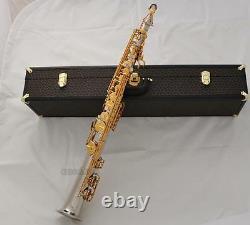 Professional Straight Alto Saxello Saxophone High F# Sax silver gold With Case