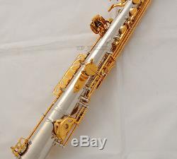 Professional Straight Alto Saxophone Silver Eb Saxello sax Curved Bell Hard Case