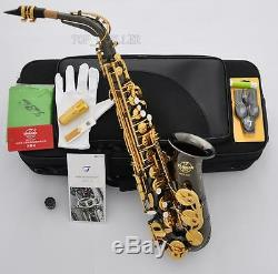Professional TaiShan 5000 Alto Saxophone Black Nickel Gold Eb Sax Germany Mouth