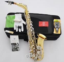 Professional TaiShan 5000 Alto Saxophone Eb Sax Gold Body Silver Key NEW
