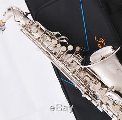 Professional TaiShan Satin nickel Alto Saxophone High F# New Eb Saxofon WithCase