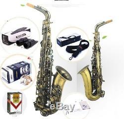 VIBRA Professional Beginner Eb Curved Alto Saxophone Brass body #0124