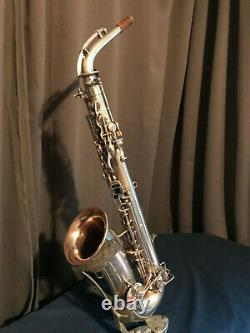 Vintage 1926 Buescher True-Tone Alto Saxophone original Silver Matte Finish